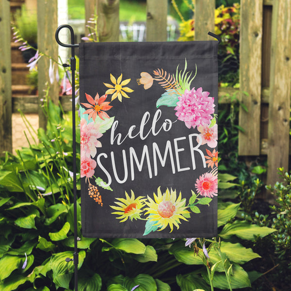 "Hello Summer Chlk Garden Flag 12"" x 18"" - Second East"