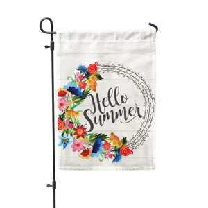 "Hello Summer White Garden Flag 12"" x 18"" - Second East"