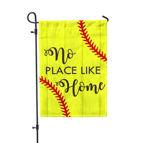 No Place Like Home Softball Garden Flag - Double Sided - Second East