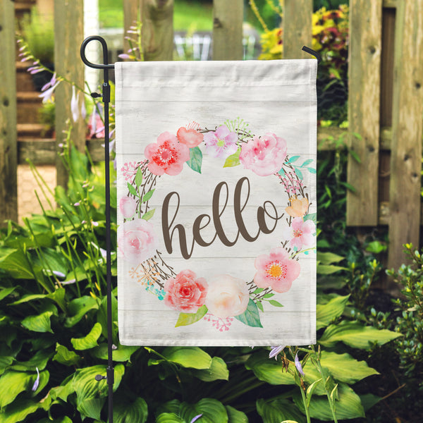 "Hello Floral Garden Flag 12"" x 18"" - Second East"