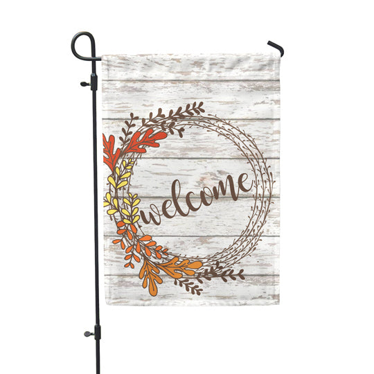 Welcome Rustic Wreath Garden Flag - Second East
