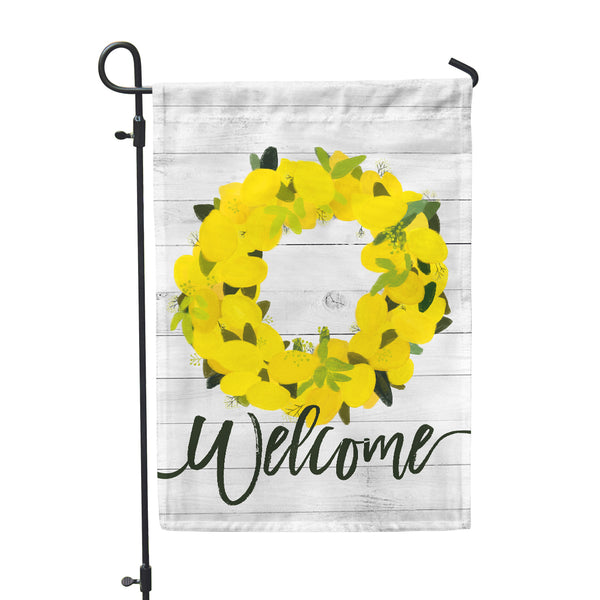 Welcome Lemon Wreath Garden Flag - Double Sided - Second East