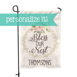 "Personalized Garden Flag - Bless Our Nest Custom Flag - 12"" x 18"" - Second East"