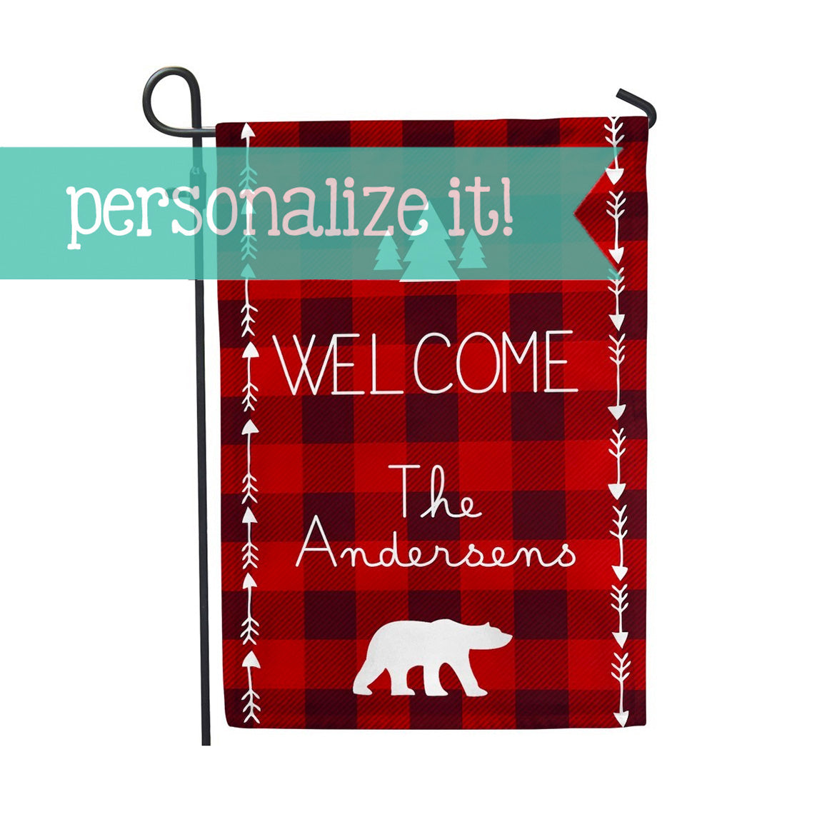 "Personalized Garden Flag - Buffalo Plaid Red Check Arrow Home Yard Flag - 12"" x 18"" - Second East"