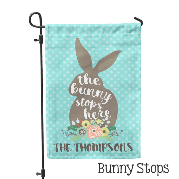 "Personalized Garden Flag - Bunny Stops Custom Flag - 12"" x 18"" - Second East"