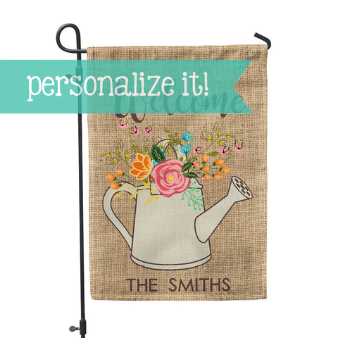 "Personalized Garden Flag - Burlap Floral Custom Flag - 12"" x 18"" - Second East"