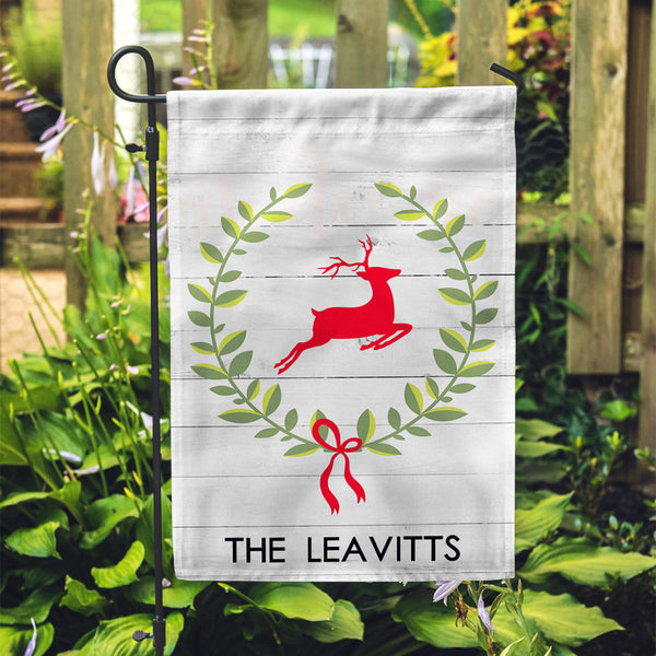 "Personalized Garden Flag - Deer Wreath Custom Yard Flag - 12"" x 18"" - Second East"