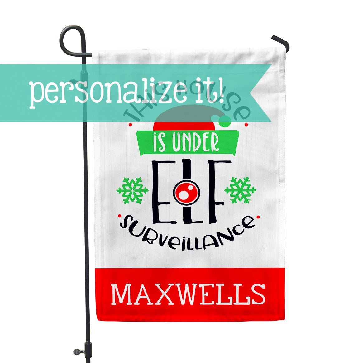 "Personalized Garden Flag - Elf Surveillance Yard Flag - 12"" x 18"" - Second East"