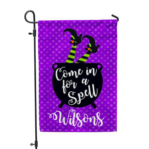 "Custom Purple Come in For a Spell Garden Flag - 12"" x 18"" - Second East"