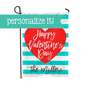 "Personalized Garden Flag - Happy Valentine's Day Home Flag - 12"" x 18"" - Second East"