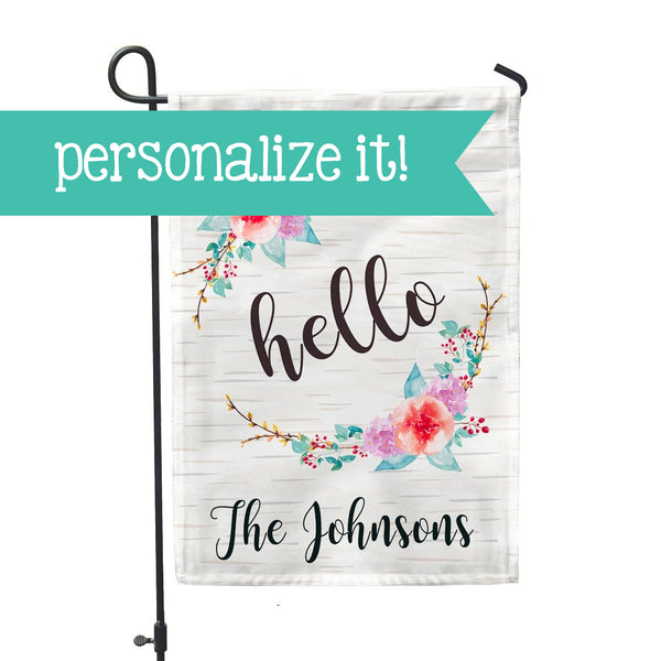 "Personalized Garden Flag - Hello Birch Floral Garden Flag - 12"" x 18"" - Second East"