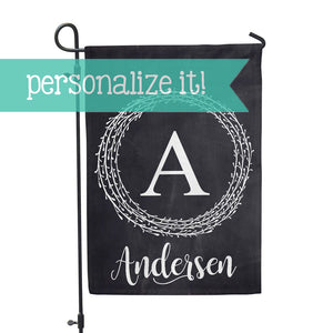 "Personalized Garden Flag - Initial Chalk Home Flag - 12"" x 18"" - Second East"