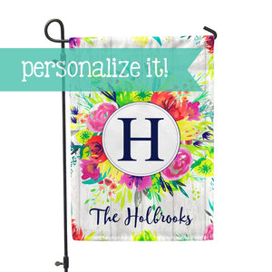 "Personalized Garden Flag - Initial Spring Custom Flag - 12"" x 18"" - Second East"