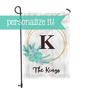 "Personalized Garden Flag - Initial Succulent Custom Flag - 12"" x 18"" - Second East"