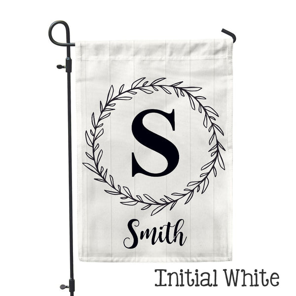 "Personalized Garden Flag - Initial White Custom Flag - 12"" x 18"" - Second East"