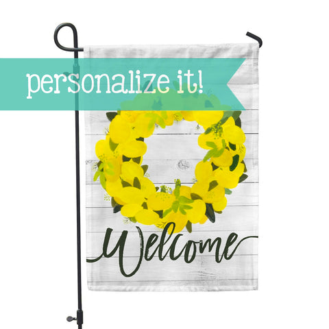 "Personalized Garden Flag - Lemon Wreath Custom Flag - 12"" x 18"" - Second East"