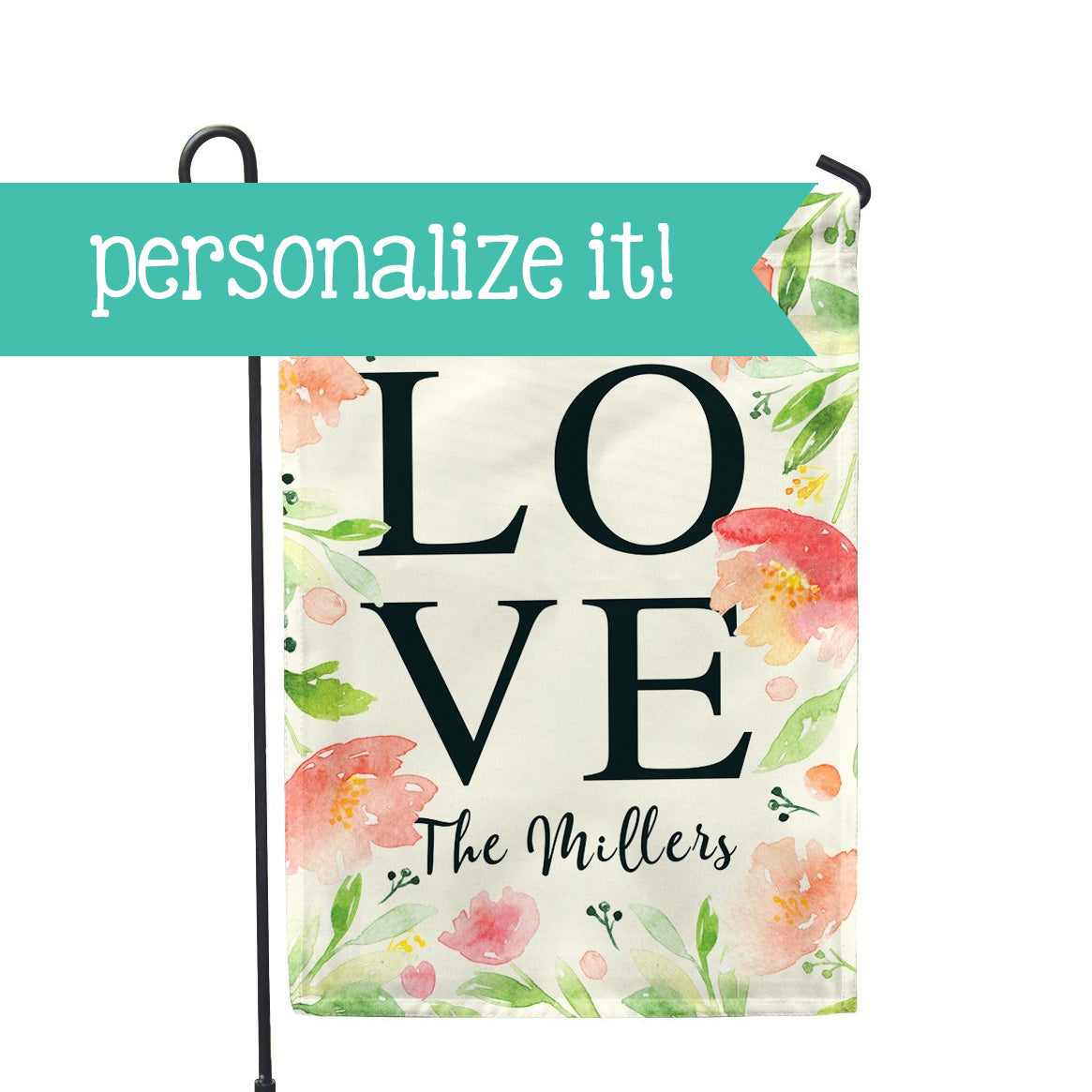"Personalized Garden Flag - Love Floral Custom Flag - 12"" x 18"" - Second East"