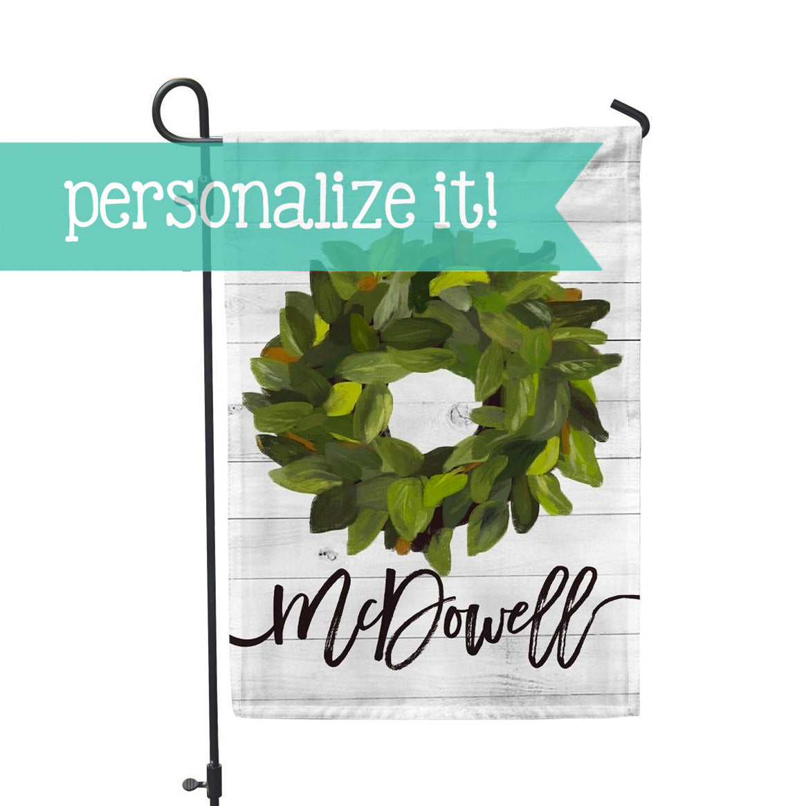 "Personalized Garden Flag - Magnolia Wreath Home Flag - 12"" x 18"" - Second East"