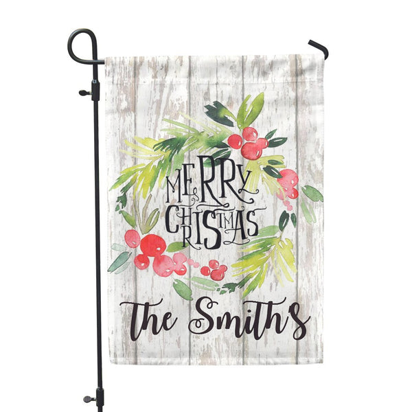 "Personalized Garden Flag - Merry Christmas Custom Flag - 12"" x 18"" - Second East"