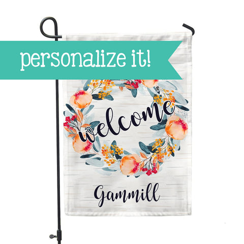 "Personalized Garden Flag - Peach Blossom Custom Home Flag - 12"" x 18"" - Second East"