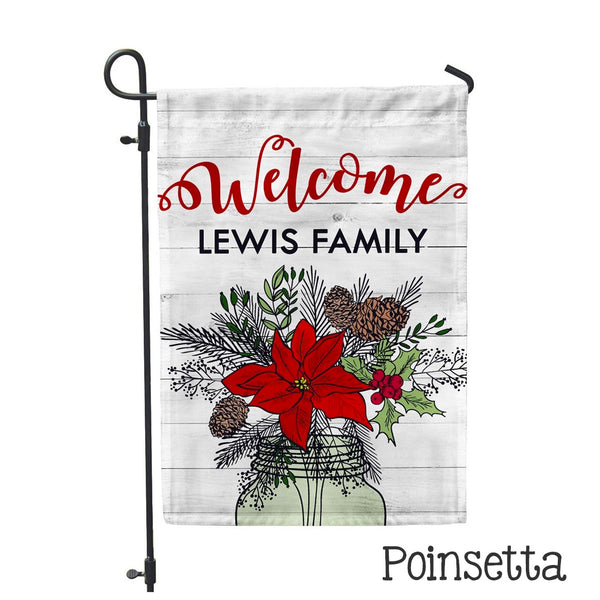 "Personalized Garden Flag - Poinsetta Custom Home Flag - 12"" x 18"" - Second East"