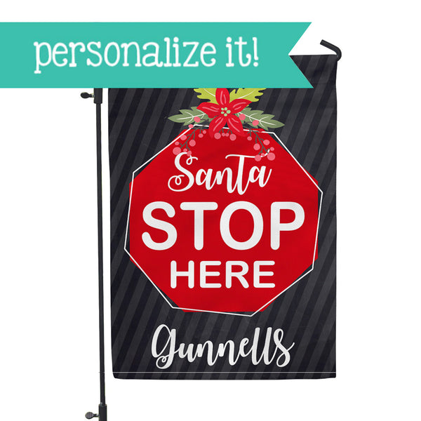 "Personalized Garden Flag - Santa Stop Custom Home Flag - 12"" x 18"" - Second East"
