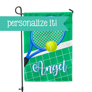 "Personalized Garden Flag - Tennis Racket Sports Team Custom Yard Flag - 12"" x 18"" - Second East"
