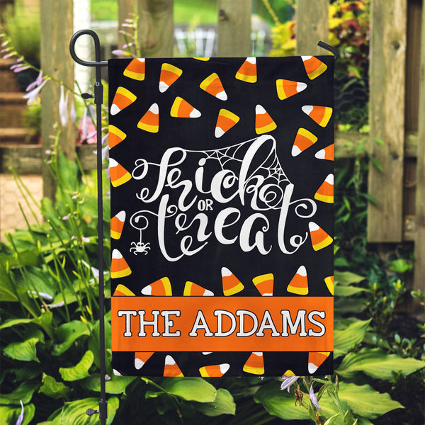 "Personalized Garden Flag - Trick or Treat Custom Home Flag - 12"" x 18"" - Second East"