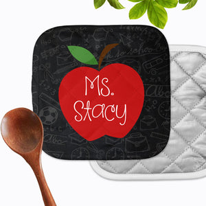Personalized Apple Teacher Chalkboard Hot Pad - Second East