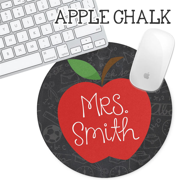 Personalized Round Mouse Pad - Apple Chalkboard - Second East