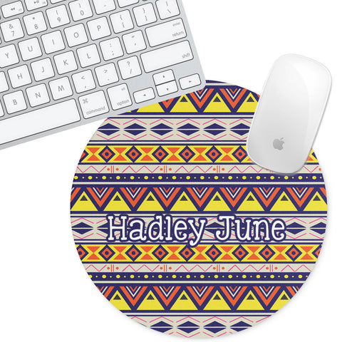 Personalized Round Mouse Pad - Aztec Hadley - Second East