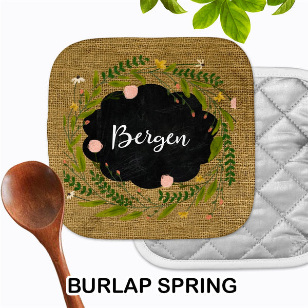 Personalized - Burlap Spring Hot Pad - Second East