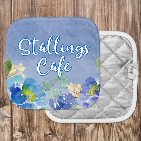Personalized Blue Floral Hot Pad - Second East