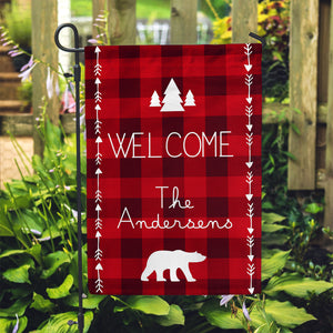"Personalized Garden Flag - Buffalo Plaid Cabin Home Yard Flag - 12"" x 18"" - Second East"