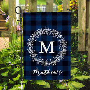 "Personalized Garden Flag - Buffalo Plaid Dark Blue Home Yard Flag - 12"" x 18"" - Second East"