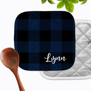 Personalized Blue Buffalo Check Hot Pad - Second East