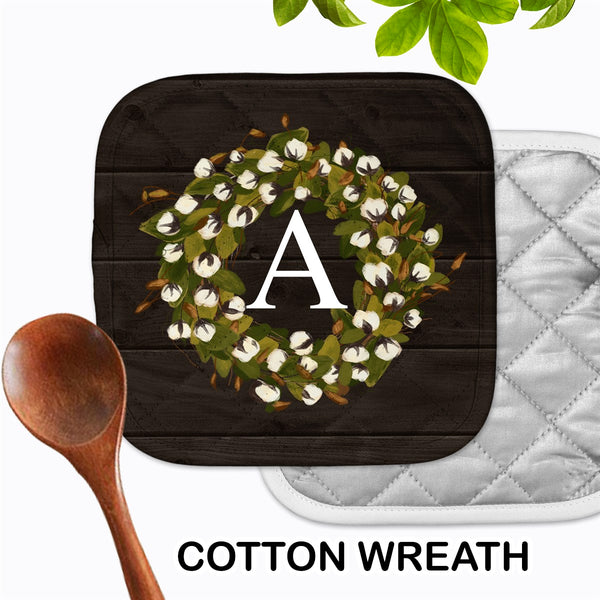 Personalized - Cotton Wreath Hot Pad - Second East