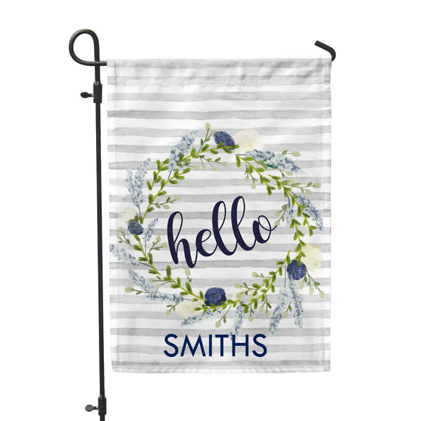"Personalized Garden Flag - Hello Stripe Garden Flag - 12"" x 18"" - Second East"