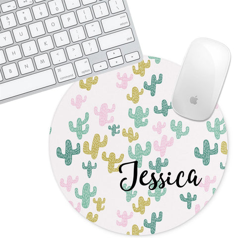 Personalized Round Mouse Pad - Cactus Jenna - Second East