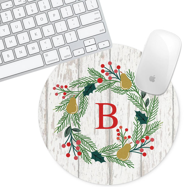 Personalized Round Mouse Pad - Holiday Christmas Wreath - Second East