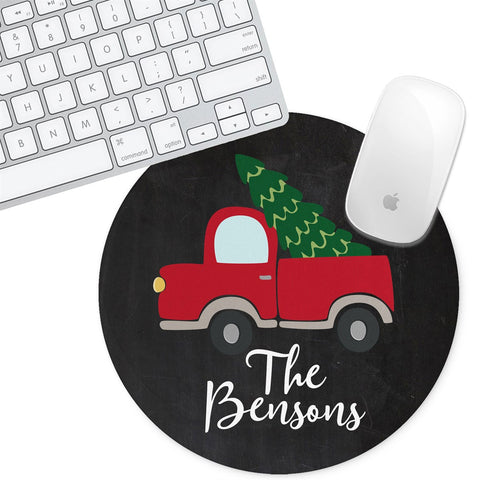Personalized Round Mouse Pad - Christmas Truck - Second East