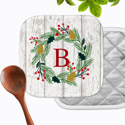 Personalized - Christmas Wreath Initial Hot Pad - Second East