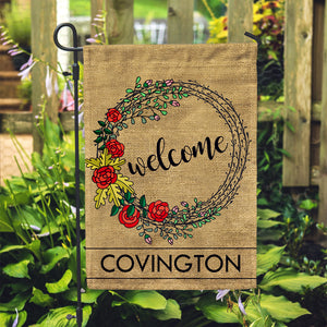 "Personalized Garden Flag - Welcome Rustic Custom Yard Flag - 12"" x 18"" - Second East"