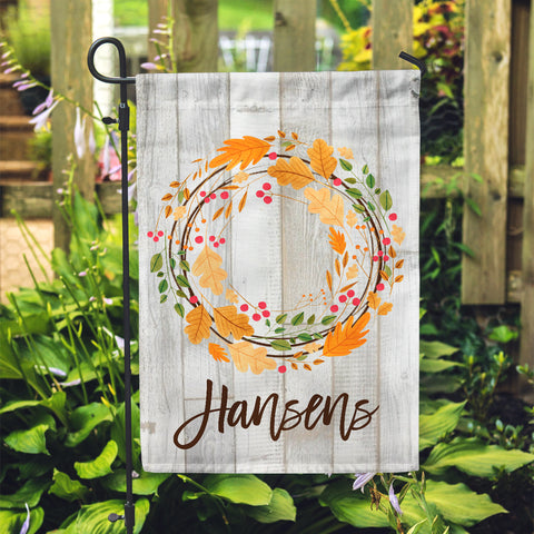 "Personalized Garden Flag - Fall Leaf Wreath Harvest Yard Flag - 12"" x 18"" - Second East"