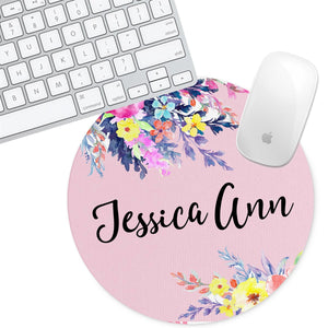 Personalized Round Mouse Pad - Floral Jessica Ann - Second East