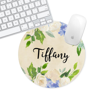 Personalized Round Mouse Pad - Floral Tiffany - Second East