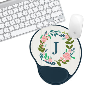 Custom Personalized Initial White Padded Mouse Pad - Second East