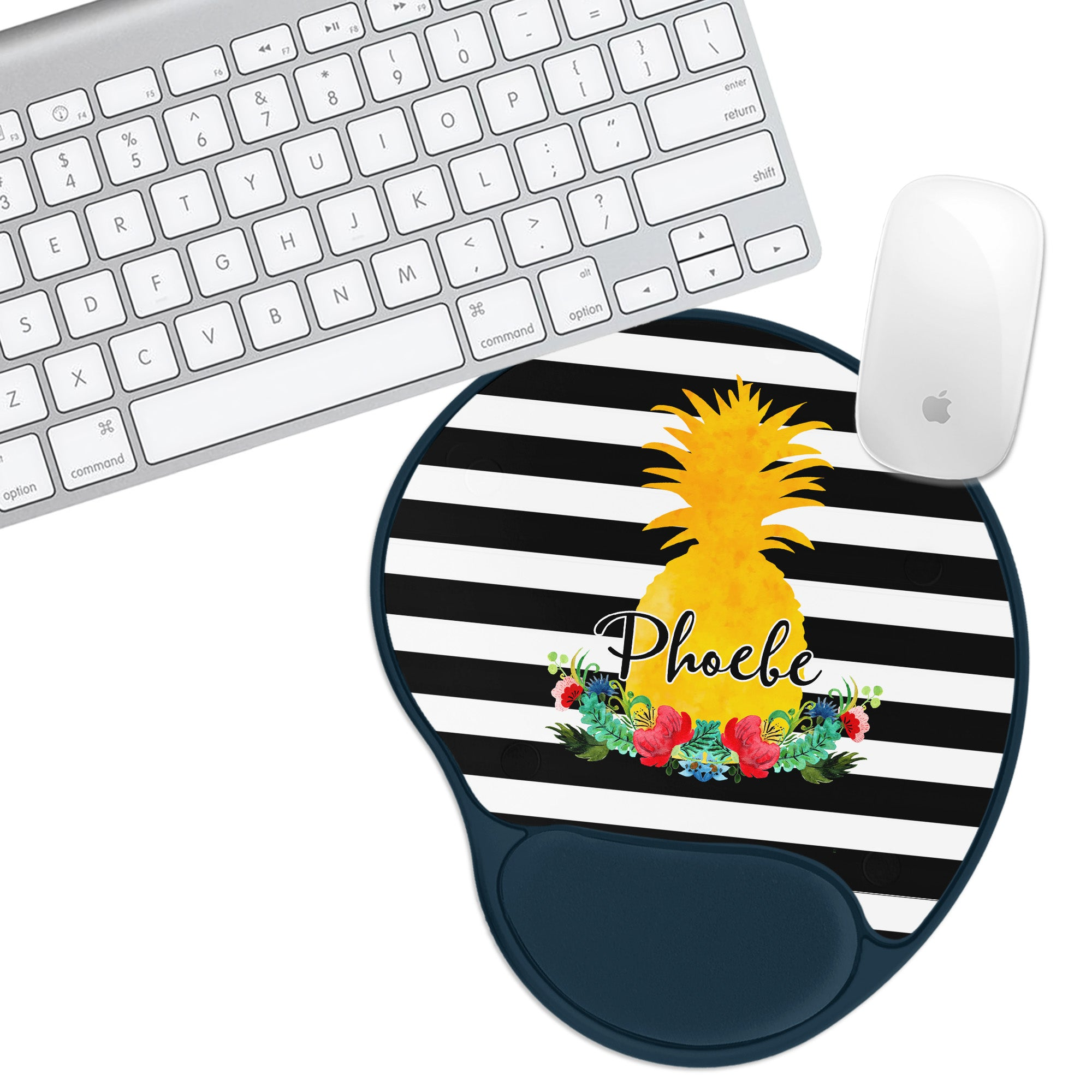 Custom Personalized Stripe Pineapple Padded Mouse Pad - Second East