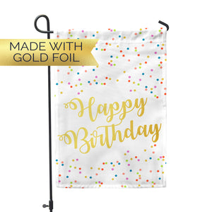 "GOLD FOIL Birthday Garden Flag 12"" x 18"" - Second East"