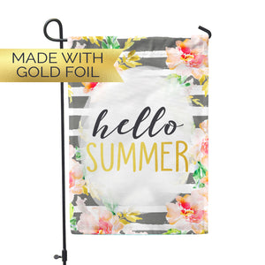 GOLD FOIL Hello Summer Garden Flag - Second East